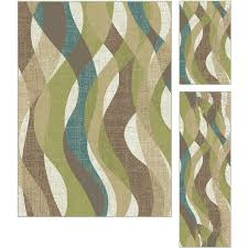 3 piece set ivory teal blue and green area rug deco rc willey furniture