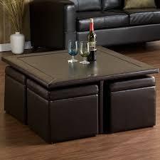 square dark espresso coffee table with ottomans underneath coffee table ottoman combination