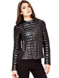 black multi quilted look jacket guess coats jackets w81l00w7iw0