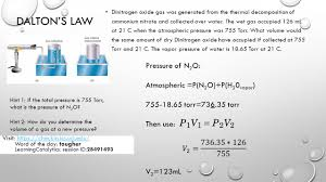 dalton s law dinitrogen oxide gas was generated from the thermal decomposition of ammonium nitrate and collected