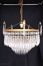 antique 4 tier waterfall crystal chandelier