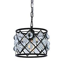 cassiel mini drum crystal chandelier black