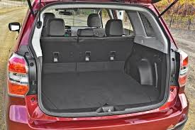 subaru forester interior. the forester offers a useful amount of cargo area with rear seatbacks up and is class leader when they are folded flat subaru interior