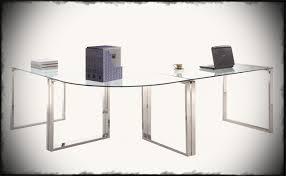 modern corner office desk. Desk Magnificent Modern Corner Office Clear Glass Table Top Stainless Steel Legs L Shape Home Deskclear