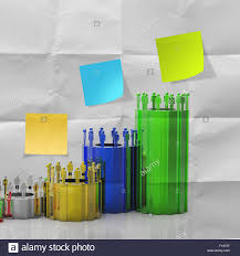 Blank Sticky Note With Crumpled Paper And Graphic Chart As
