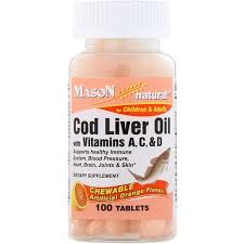 Mason Natural, <b>Chewable Cod Liver</b> Oil, with Vitamins A, C, & D ...