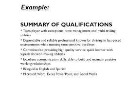 Examples Of Resume Qualifications Letter Resume Directory