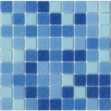 brio blend cool pool blue glass mosaic tile