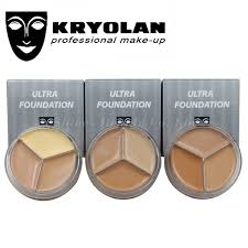 kryolan 3 color make up concealer paleta de corretivo foundation contour palete water proof