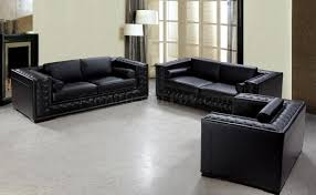 Italian Leather Living Room Furniture Dublin Bt0697 Vig Top Grain Italian Leather Living Room Set Black