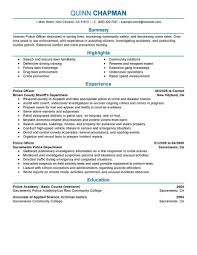 Resume For A Police Officer Best Police Officer Resume Example