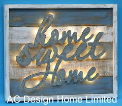 vintage antique rectangular home sweet home design wall decor wooden shadow box w led light