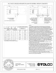 Wedge Anchor Strength Chart Hilti Kb Tz Wedge Anchors In 4 000 Psi Normal Weight E T Of