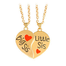 "<b>Hot sale 2 pcs</b>/<b>set</b> ""Big sis Little sis"" Red Heart shaped Pendant ..."