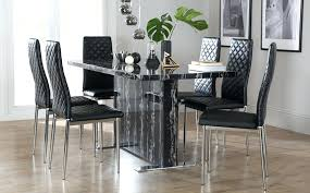 black marble dining table with 6 chairs chrome room simple design decor top round b