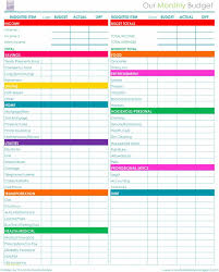 Monthly Personal Budget Spreadsheet Printable Monthly Household Budget Spreadsheet Excel