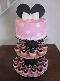 image of minnie mouse 1st birthday cake with cupcakes