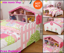 Quality Childrens Bedroom Furniture Girls Pink Single Bed Dollhouse Storage Toddler Kids Bedroom