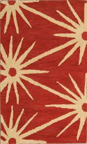 hand tufted star design red ivory nautical oushak oriental area rug wool 3x5 for