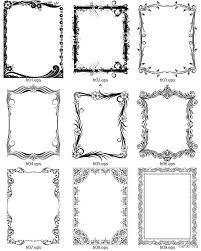Орнаментальные черно белые рамочки ч Орнаментальные Черно  Девять декоративных рамок для дипломов