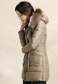 warm jacket long coffee color coat cotton padded fur hood jacket winter coat for women