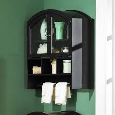image of installing black bathroom wall cabinet