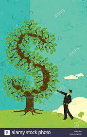 Businessman with a <b>money tree</b> A man looking at his <b>money tree</b> ...