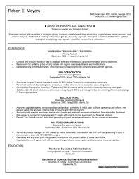 Gallery Of Senior Financial Analyst Resume Financial Analyst