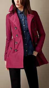 hot pink coats burberry short gathered skirt trench coat