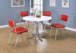 5 retro chrome finish diner round white top dining table set kitchen sets faucets moen s