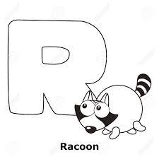 アルファベット R 狸と子供のためのぬりえ