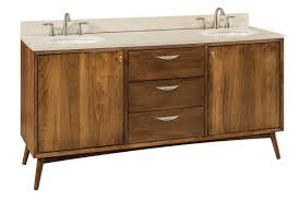brown maple mid century bathroom vanity