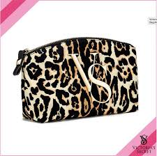 victoria s secret leopard cosmetic bag makeup vs case pouch travel