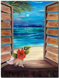 beach view in moonlight quality canvas print a3 carribean
