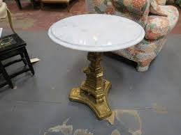vintage antique small round marble top pedestal side table 165