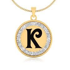 details about 0 34 ct simulated diamond alphabet letter k pendant necklace 14k yellow gold