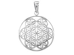 sterling silver 27mm flower of life sacred geometry pendant