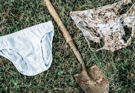 White underwear is being worn in the soil here, it is interesting because