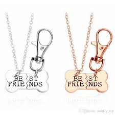 2019 gold silver best friends pendant necklace pet dog bones jewelry f necklace 2 part dog bones necklace and keychain from andd1y top 0 86 dhgate com