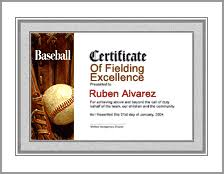 Samples Of Awards Certificates Printable Baseball Awards Certificate Template For All