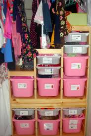 good diy kids closet organizer with pink and transpa storage bins