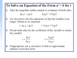 to solve an equation of the form a t b for t 1 take the