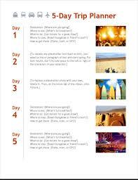 Trip Schedule Template 5 Day Trip Planner
