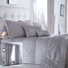 shimmer bedding range silver choice of duvet sets curtains cushions bed runner 1 of 4free
