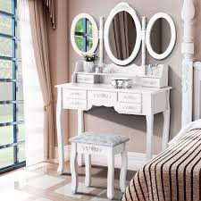 vanity white dressing table makeup mirror rose stool set dresser 7 drawers