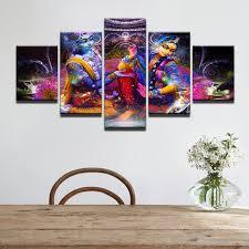 fashion canvas painting wall art prints framed home decoration 5 panel india myth vishnu and lakshmi on wall art prints framed with fashion canvas painting wall art prints framed home decoration 5