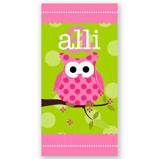 Owl Personalized Kids Beach Towel Beach Towel Personalized Bath