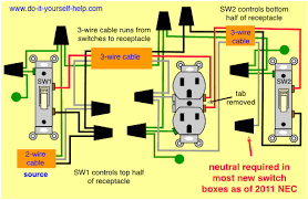 light switch wiring diagrams do it yourself help com 3 Wires To Outlet updated diagram, two switches one receptacle 3 sets of wires to 1 outlet