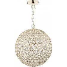 fiesta 5 light crystal ceiling pendant in gold finish