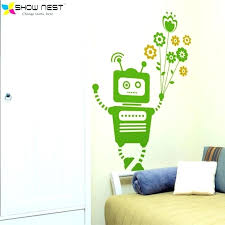 room wall stickers robot wall decals robot holding flowers wall stickers home decor kids room wall